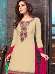 Faux Georgette Embroidered Cream Designer Patiala Suit