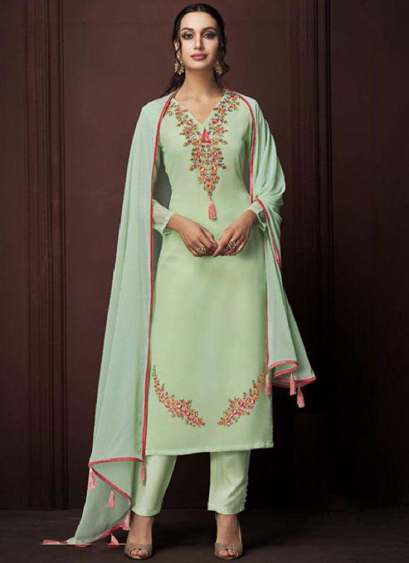 Faux Georgette Embroidered Designer Pakistani Suit