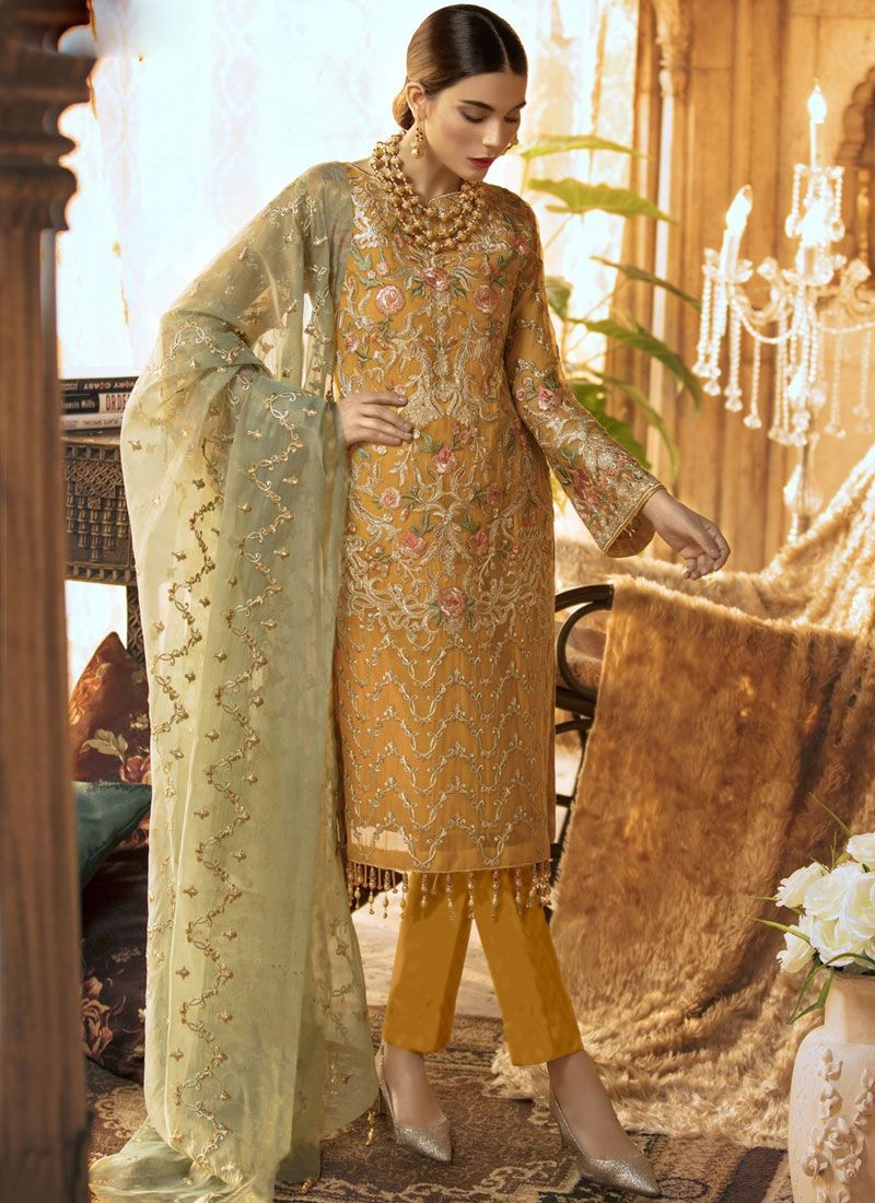 Faux Georgette Embroidered Designer Suit
