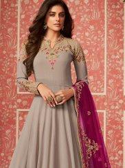 Faux Georgette Embroidered Desinger Anarkali Salwar Kameez in Grey