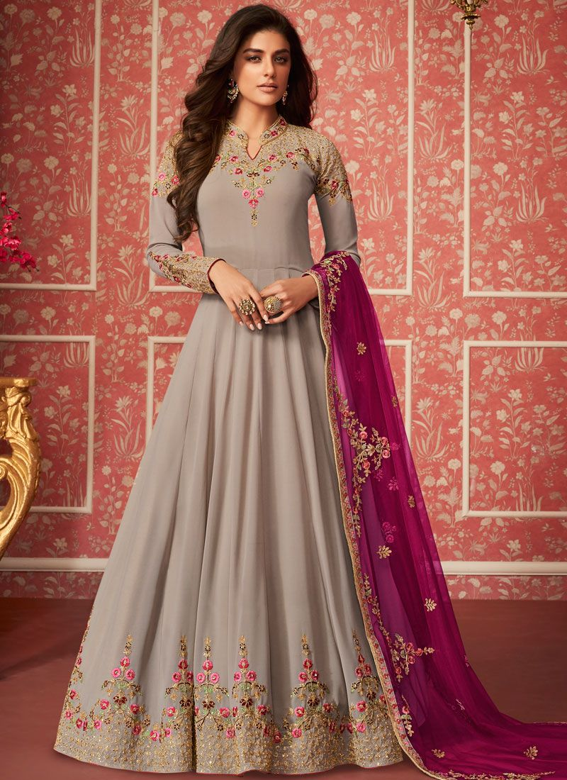 Faux Georgette Embroidered Desinger Anarkali Salwar Kameez in Grey