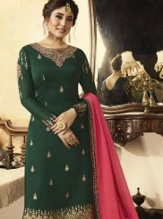 Faux Georgette Embroidered Green Designer Pakistani Suit