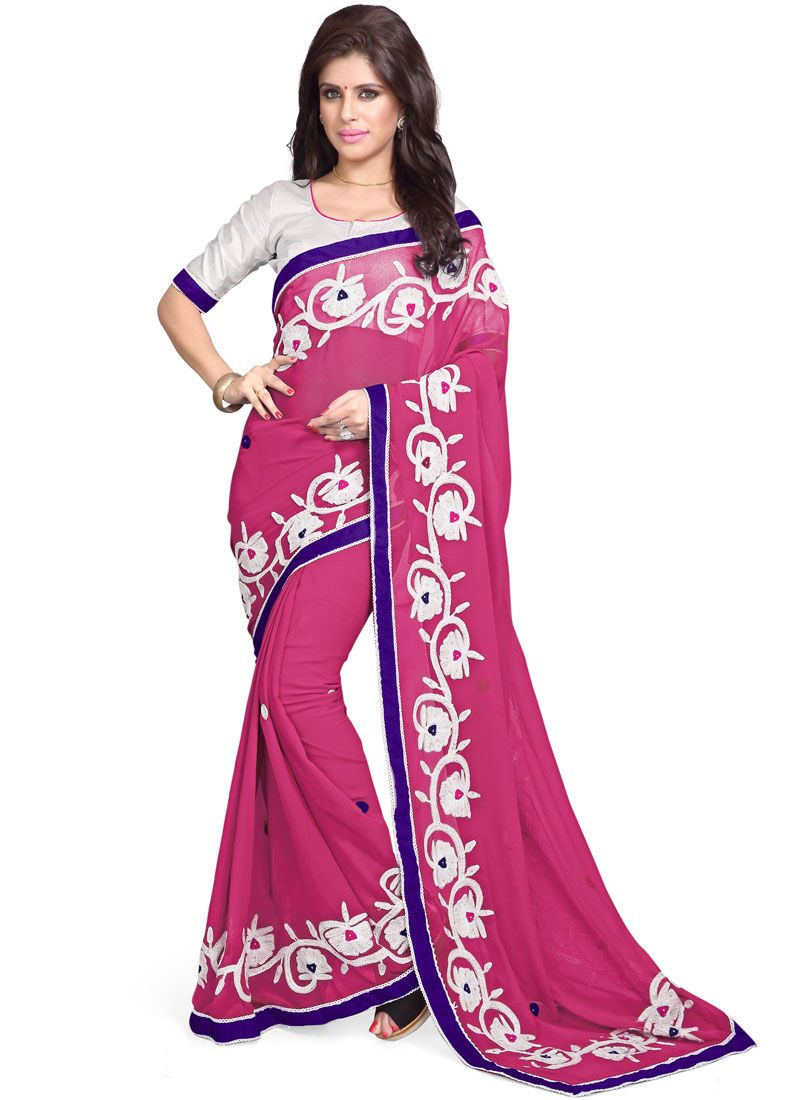 62b10047871 Shop Online Faux Georgette Embroidered Hot Pink Classic Designer Saree    103746 -