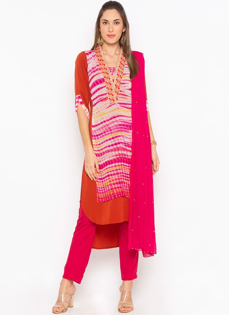 Faux Georgette Embroidered Hot Pink Readymade Suit