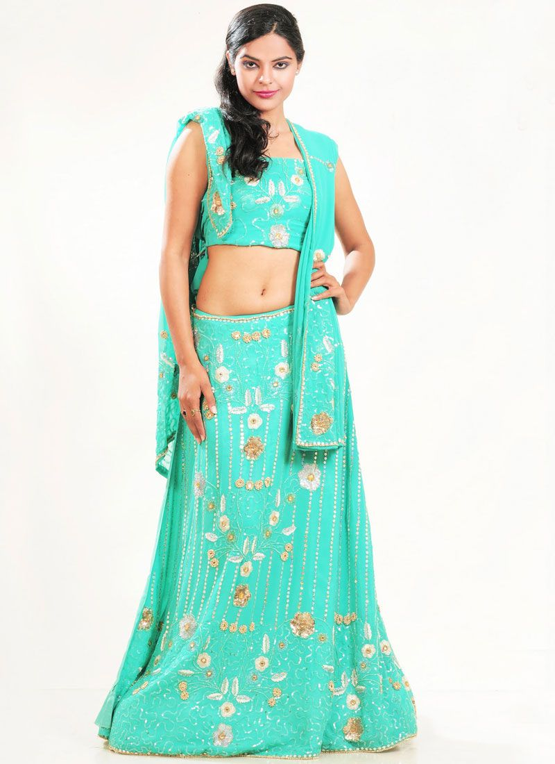 Faux Georgette Embroidered Lehenga Choli in Sea Green