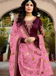 Faux Georgette Embroidered Maroon Churidar Designer Suit