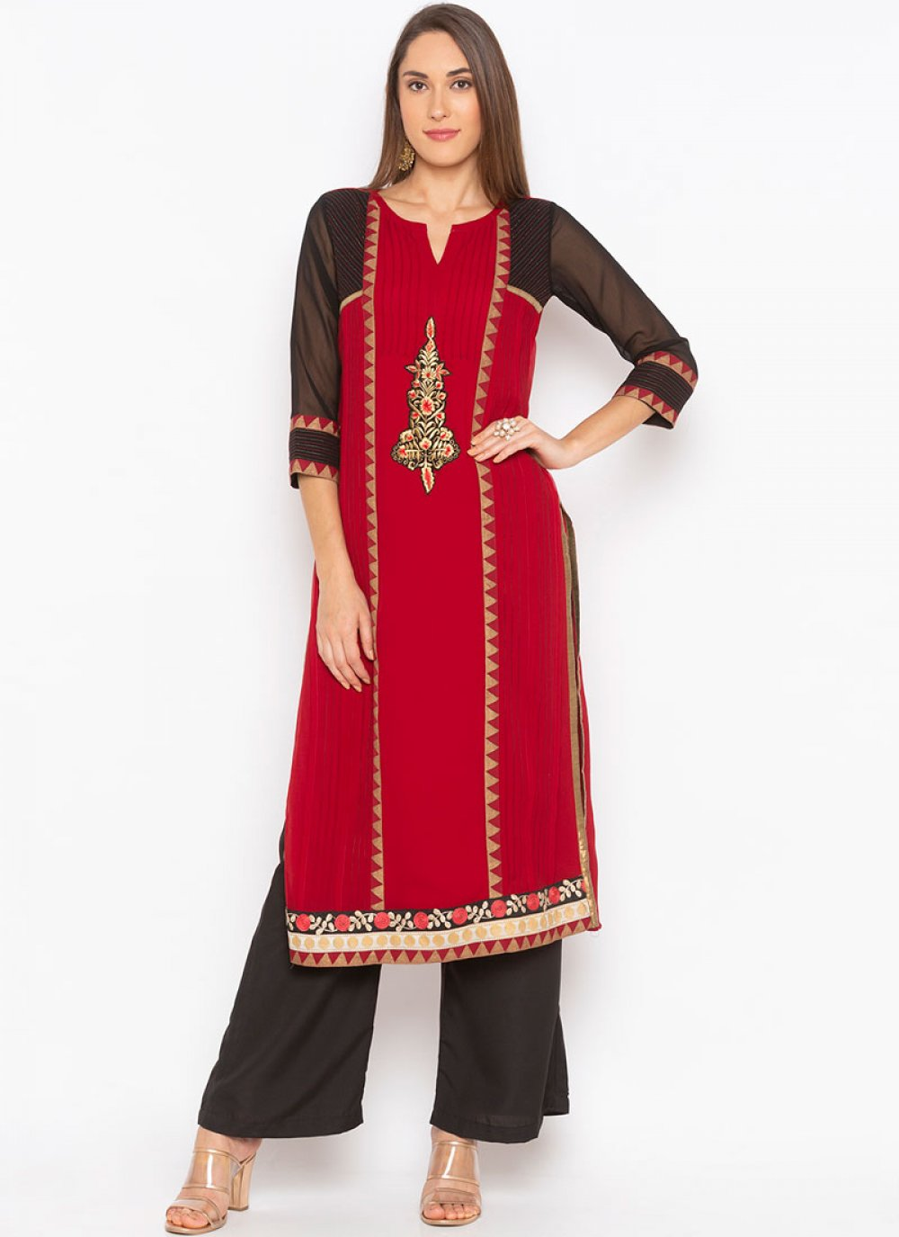 Faux Georgette Embroidered Maroon Party Wear Kurti