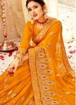 Faux Georgette Embroidered Mustard Designer Traditional Saree