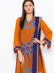 Faux Georgette Embroidered Orange Readymade Suit