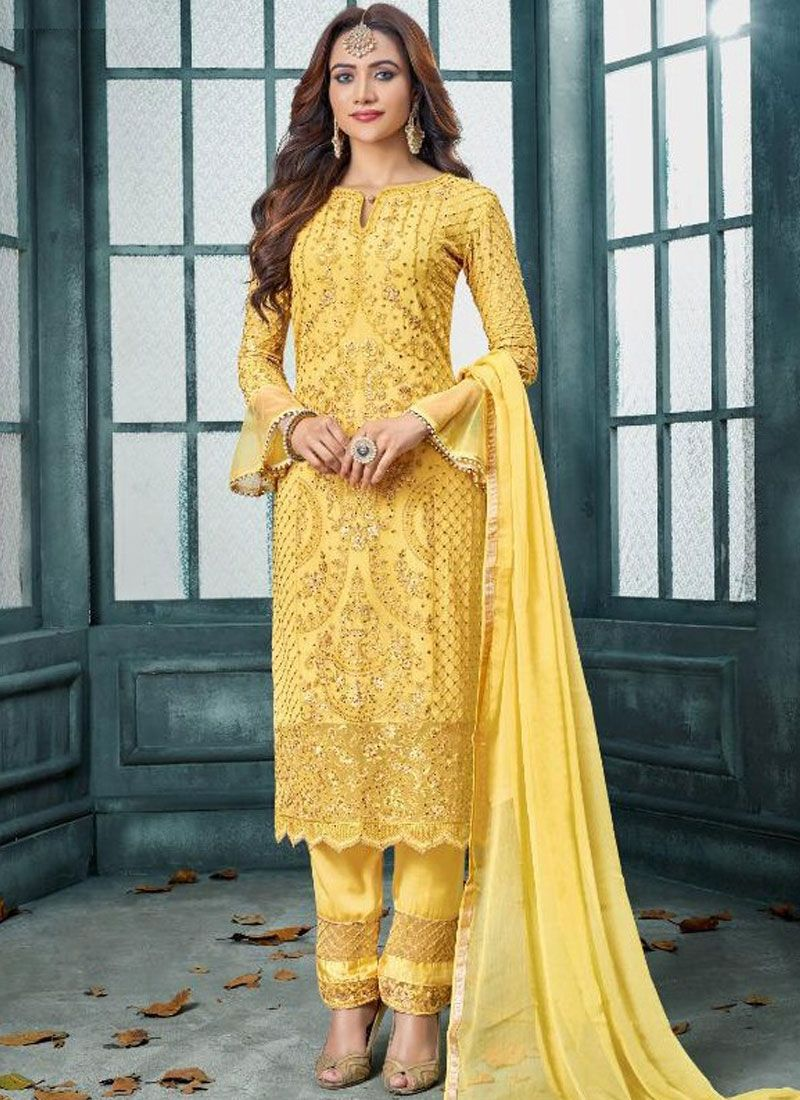 Faux Georgette Embroidered Pakistani Suit
