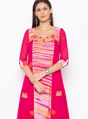 Faux Georgette Embroidered Party Wear Kurti in Hot Pink