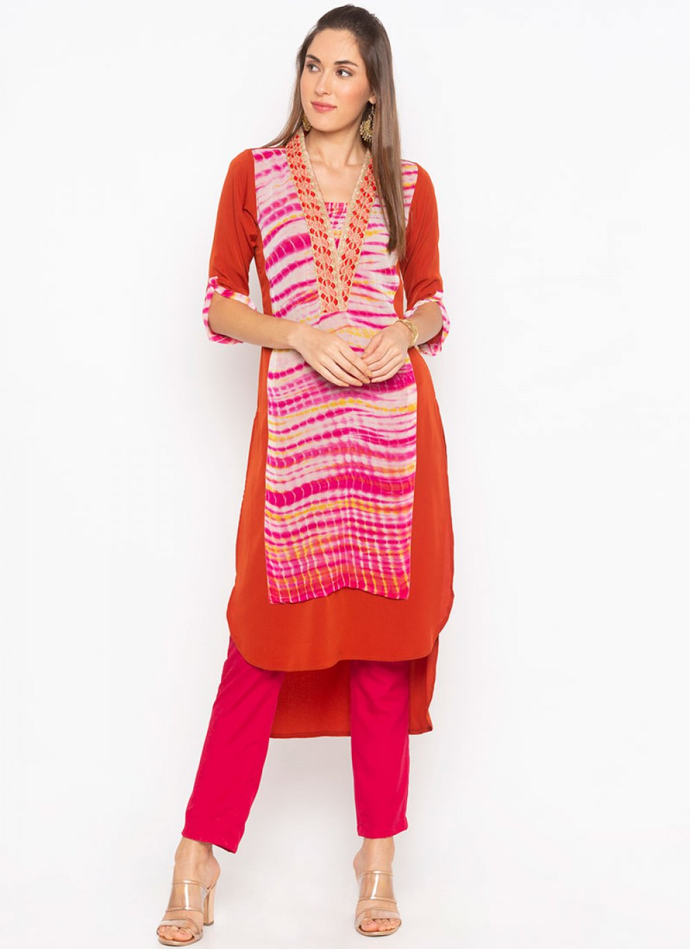 Faux Georgette Embroidered Party Wear Kurti in Multi Colour