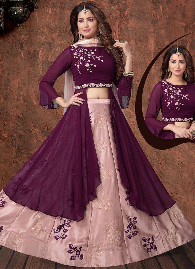 Faux Georgette Embroidered Purple Readymade Lehenga Choli