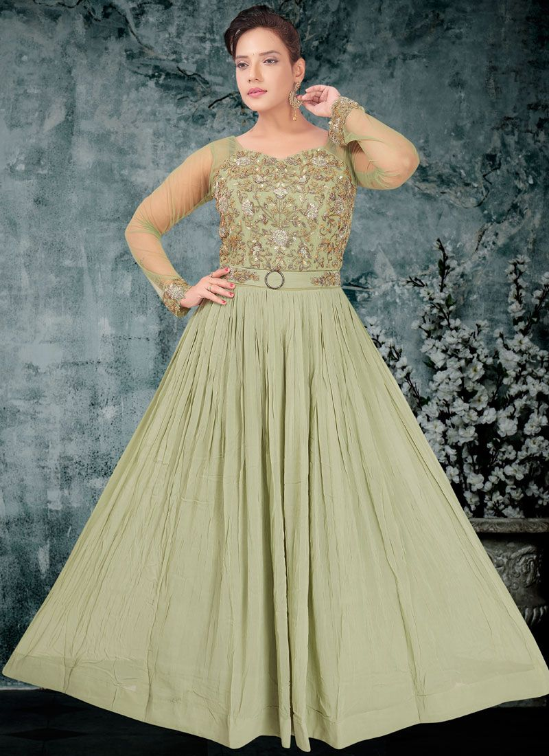 Faux Georgette Embroidered Readymade Designer Gown