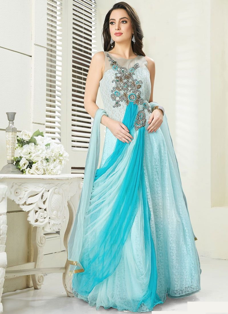 Faux Georgette Embroidered Readymade Gown in Blue