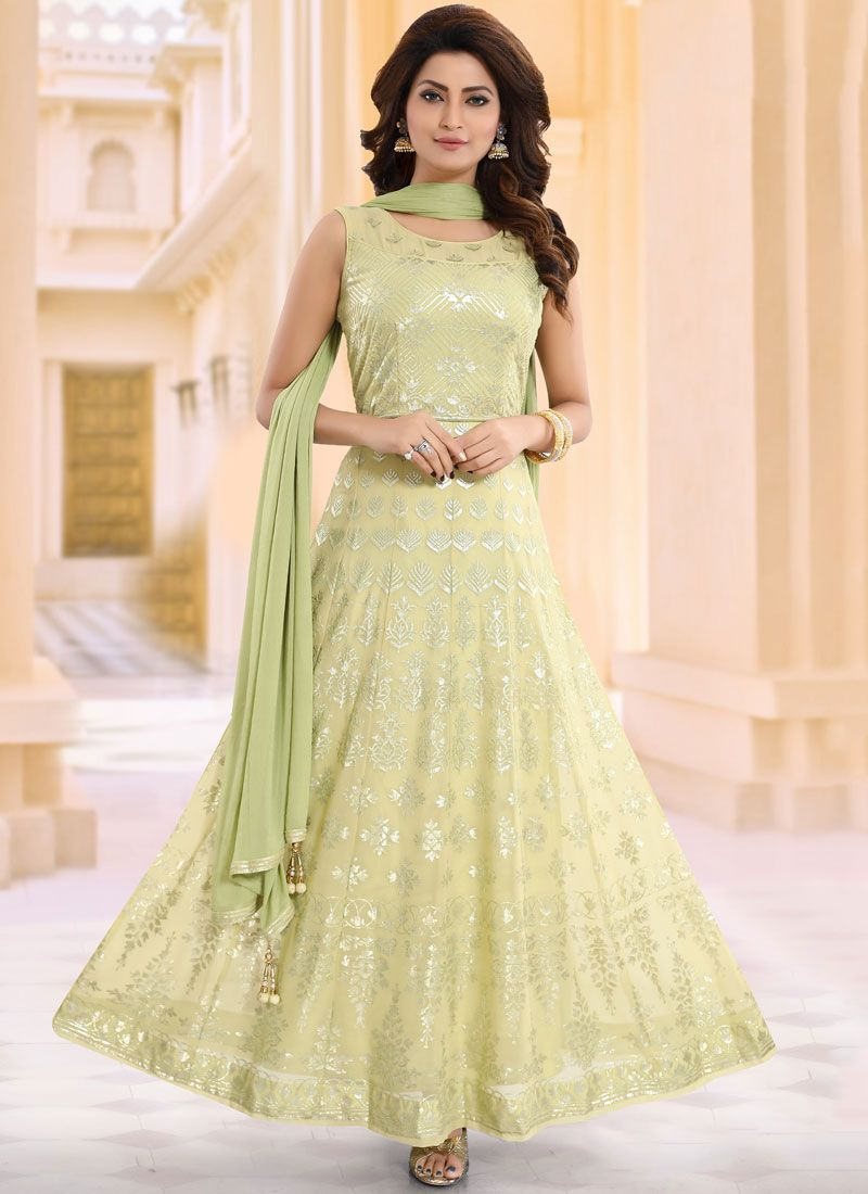 Faux Georgette Embroidered Readymade Suit in Green