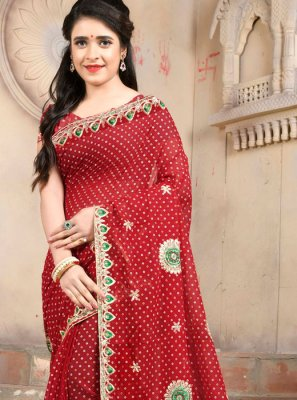 Faux Georgette Embroidered Red Casual Saree