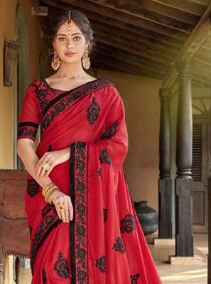 Faux Georgette Embroidered Red Saree