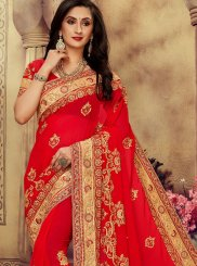 Faux Georgette Embroidered Saree in Red