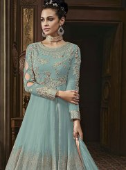 Faux Georgette Embroidered Sea Green Anarkali Salwar Suit