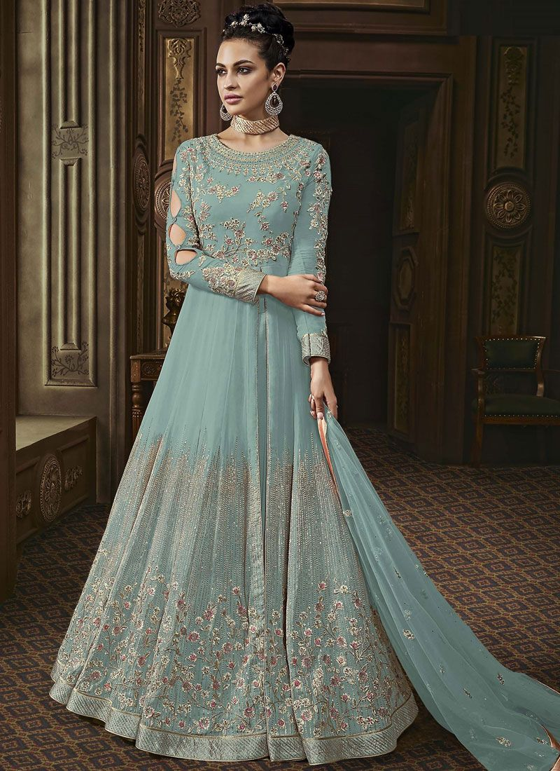 Faux Georgette Embroidered Sea Green Anarkali Salwar Suit