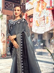 Faux Georgette Embroidered Shaded Saree in Grey