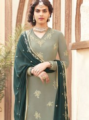 Faux Georgette Embroidered Teal Designer Pakistani Suit