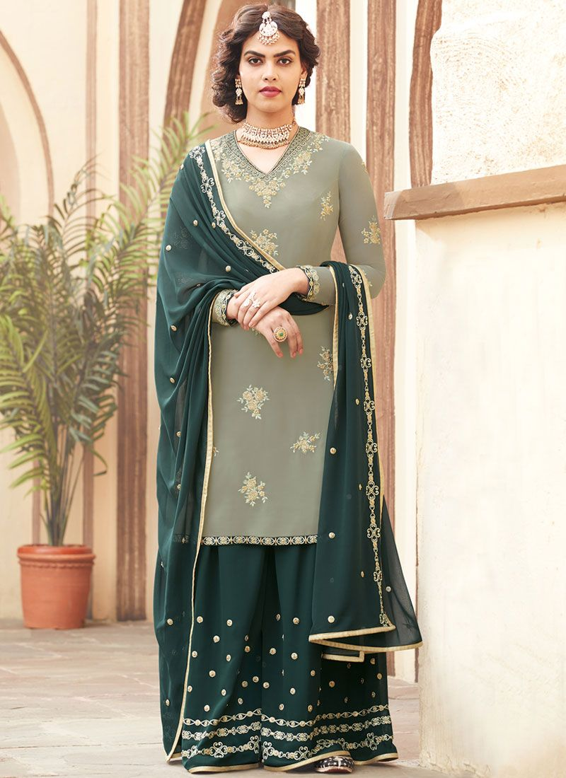Faux Georgette Embroidered Teal Designer Pakistani Suit