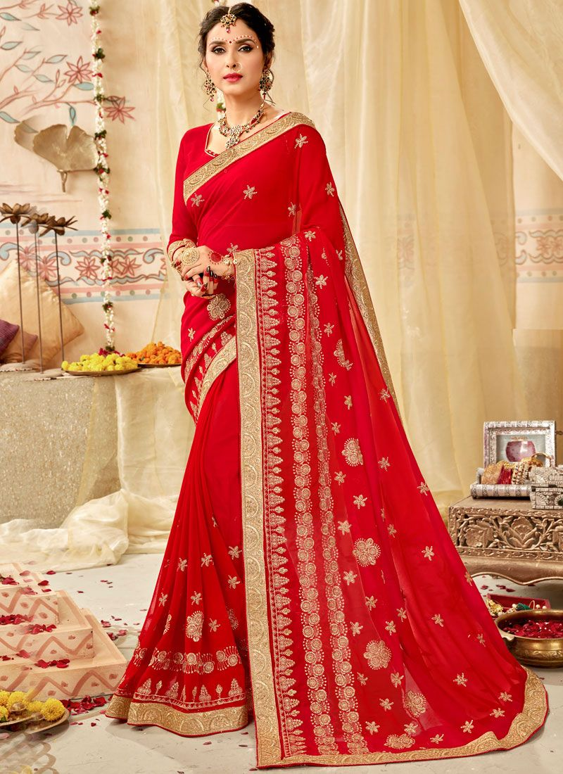 Faux Georgette Embroidered Traditional Saree