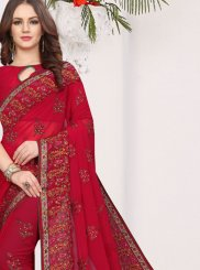 Faux Georgette Embroidered Traditional Saree in Red
