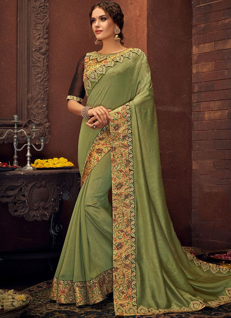 Faux Georgette Embroidered Traditional Saree in Sea Green