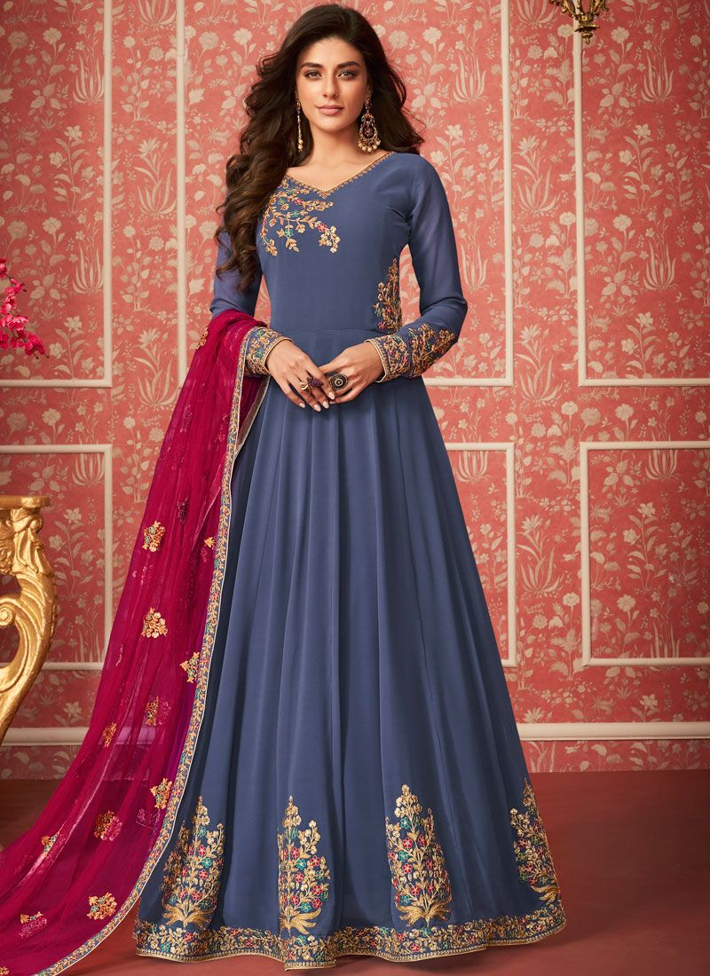 Faux Georgette Embroidered Trendy Anarkali Salwar Suit