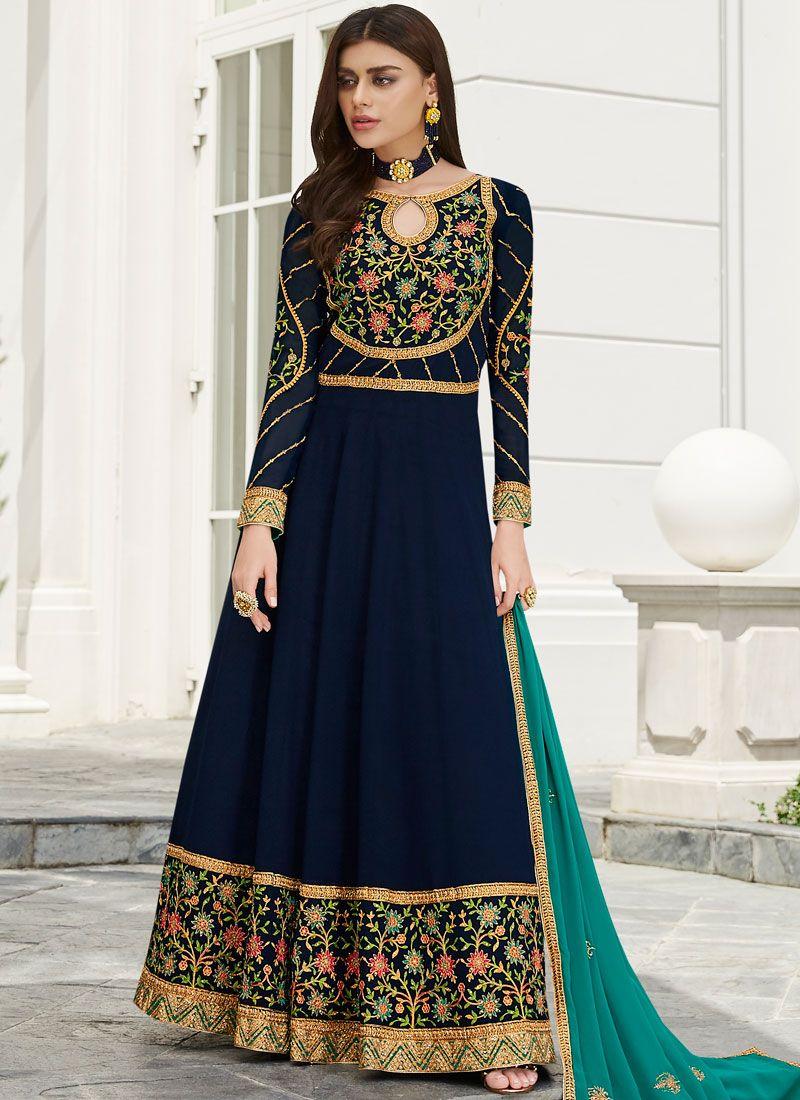 Faux Georgette Embroidered Trendy Anarkali Salwar Suit