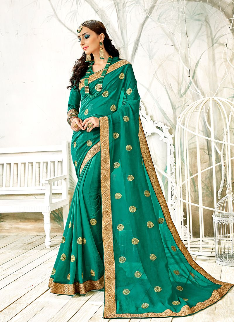 Faux Georgette Embroidered Trendy Saree