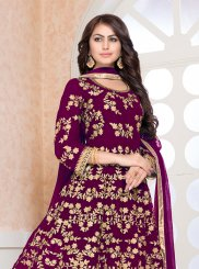 Faux Georgette Embroidered Wine Floor Length Anarkali Suit