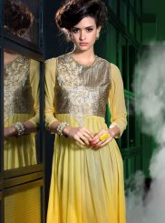 Faux Georgette Embroidered Yellow Party Wear Kurti