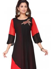 Faux Georgette Fancy Black and Red Party Wear Kurti