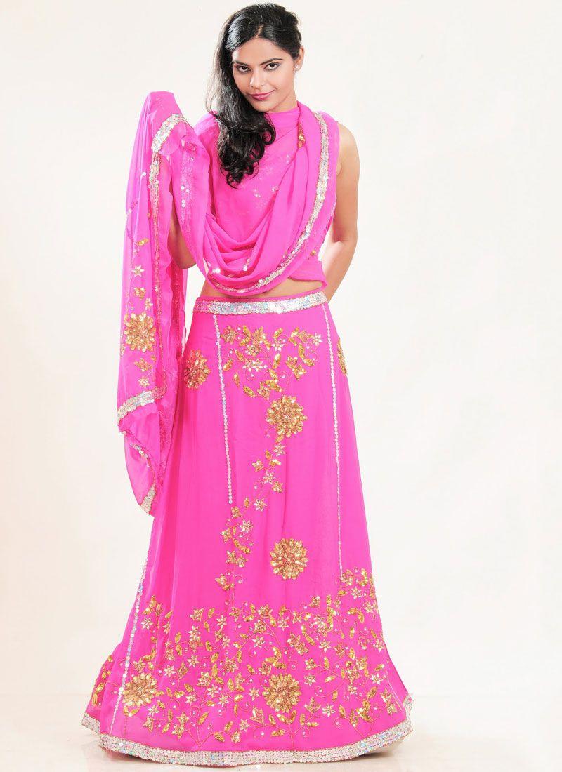 Faux Georgette Fancy Lehenga Choli in Hot Pink