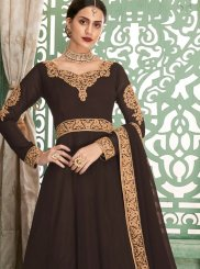 Faux Georgette Floor Length Anarkali Suit in Brown