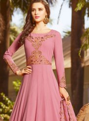Faux Georgette Floor Length Anarkali Suit in Pink
