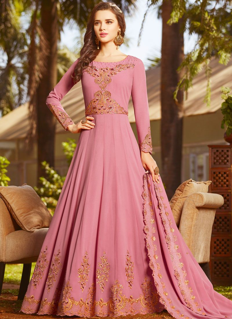 Faux Georgette Floor Length Anarkali Suit in Pink