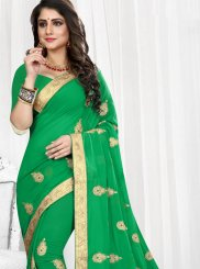 Faux Georgette Green Classic Designer Saree