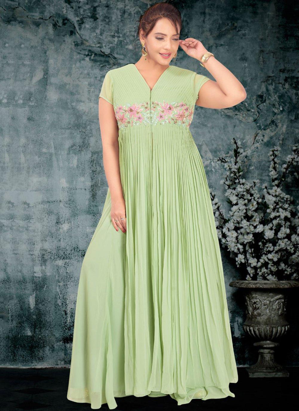 Faux Georgette Green Designer A Line Lehenga Choli