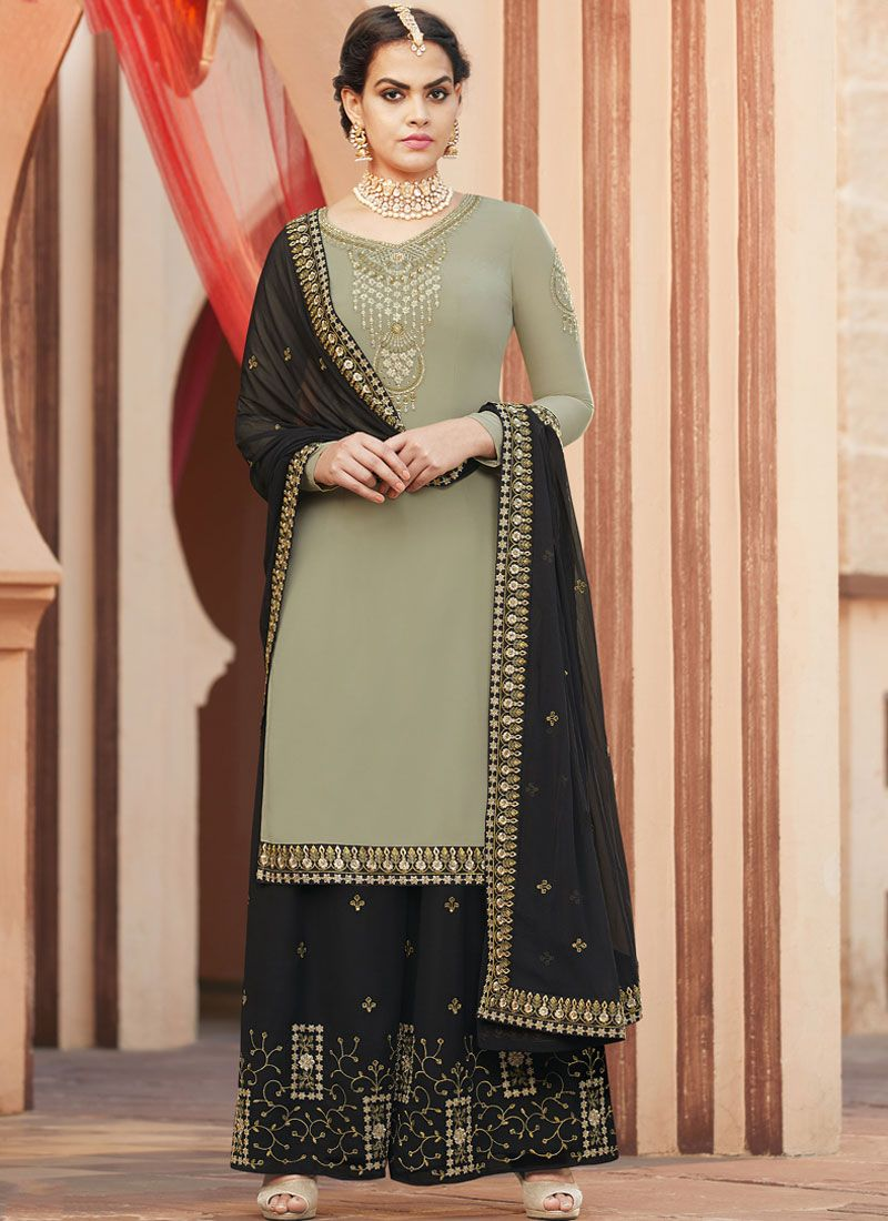 Faux Georgette Green Designer Pakistani Suit