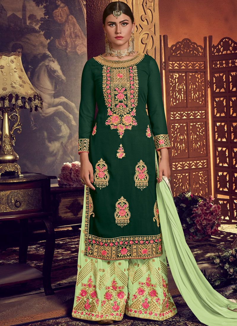 Faux Georgette Green Designer Palazzo Suit