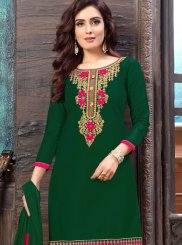 Faux Georgette Green Designer Patiala Suit
