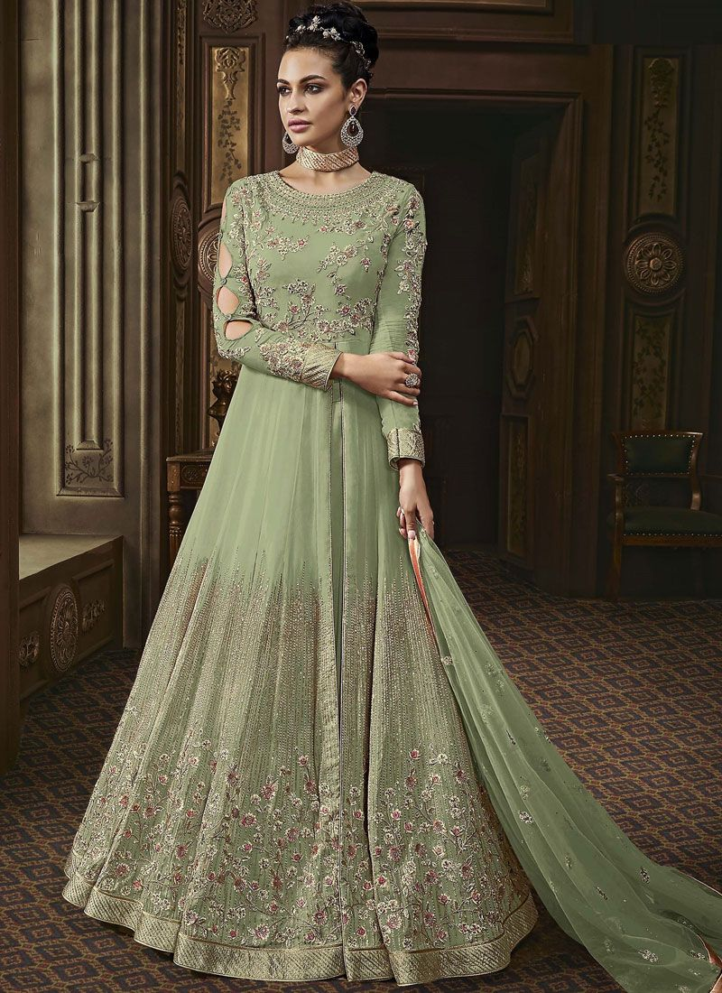 Faux Georgette Green Embroidered Anarkali Salwar Suit