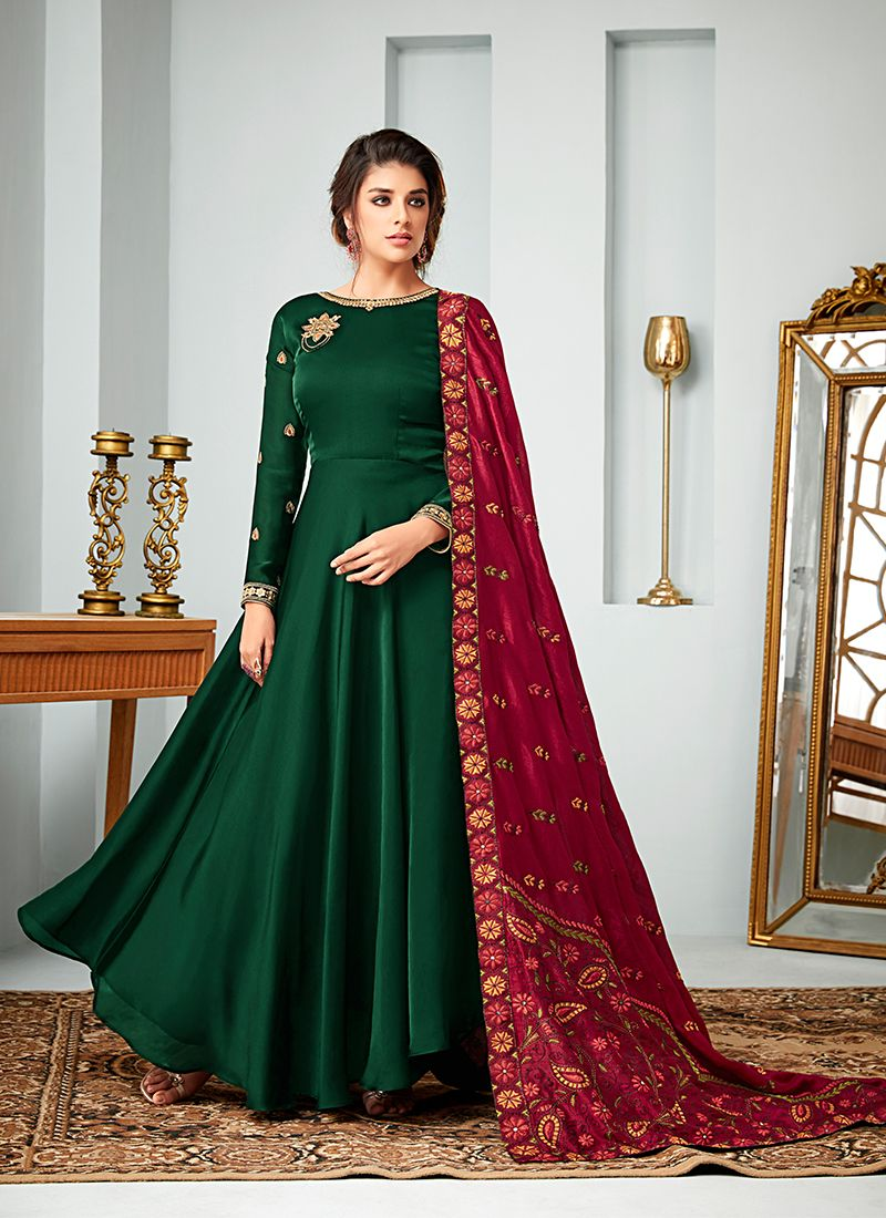 ccb17b2799 Buy Faux Georgette Green Floor Length Anarkali Suit Online -