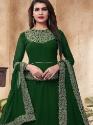 Faux Georgette Green Floor Length Anarkali Suit