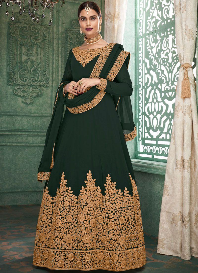 Faux Georgette Green Floor Length Anarkali Suit